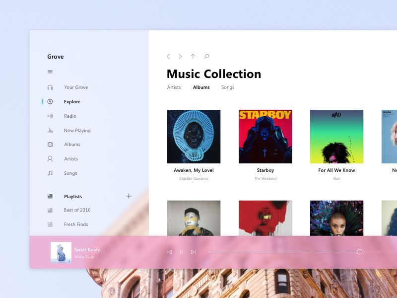 Windows 10 Acrylic Sketch Freebie Design Language Music App 10 Things