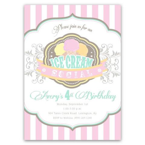 Ice Cream Social Birthday Invitations Ice cream social