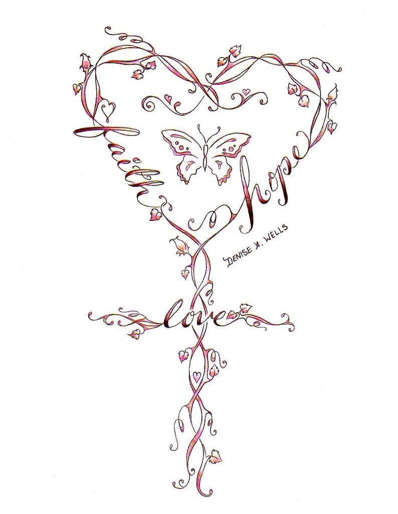 Faith love hope cross tattoo design by denise a wells tattoo another crossvine tattoo design the following is a link to my custom word tattoossymbol tattoosheart biocorpaavc Image collections