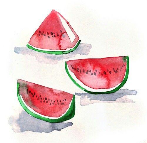Pin De Kubra Asli Kaya En Watermelon Strawberry Karpuz Cilek Acuarela Sandia