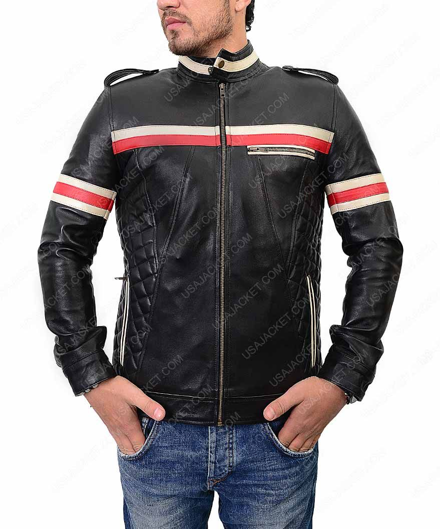 Mens Red And White Striped Black Motorcycle Jacket Red
