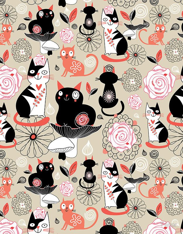 """""""Floral pattern with cats"""" by Tanor Redbubble Cat art"""