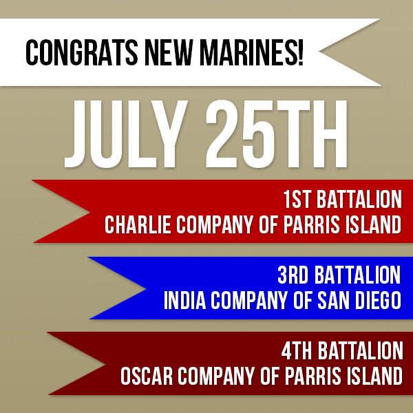 Congrats to 1st Battalion Charlie Company and 4th Battalion Oscar Company of Parris Island and to 3rd Battalion India Company of San Diego for graduating boot camp on Friday, July 25th, 2014! #Marines #Recruits #MarineRecruits #USMC #ParrisIsland #SanDiego #RecruitDepot #SemperFi #Welcometothefamily