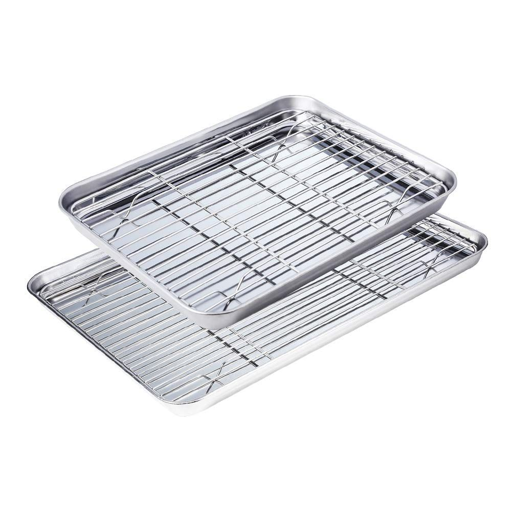 Stainless Steel Baking Sheet And Rack Pack Of 4 2 Trays 2 Racks Cookie Sheet With Cooling Rack 12 And 16 Inch Non T Easy Cleaning Rust Free Dishwasher Safe