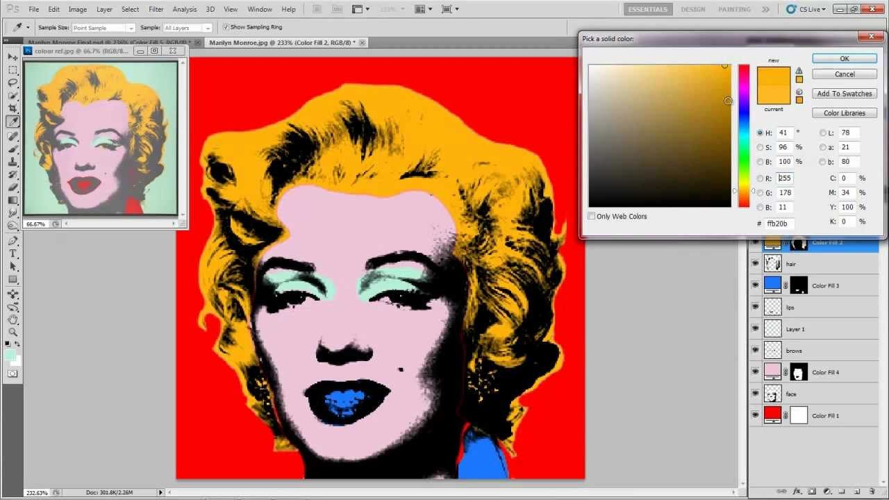 Create an andy warhol silk screen effect in photoshop   andy.