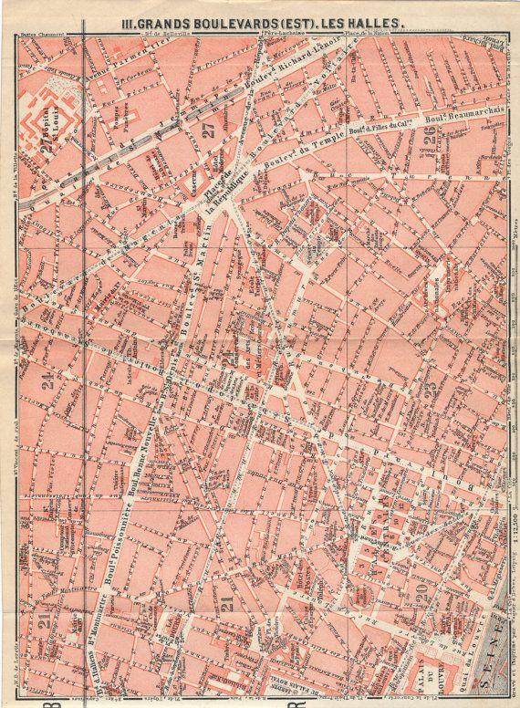 1910 Antique Paris France Street Map | Paris france, Paris map and ...