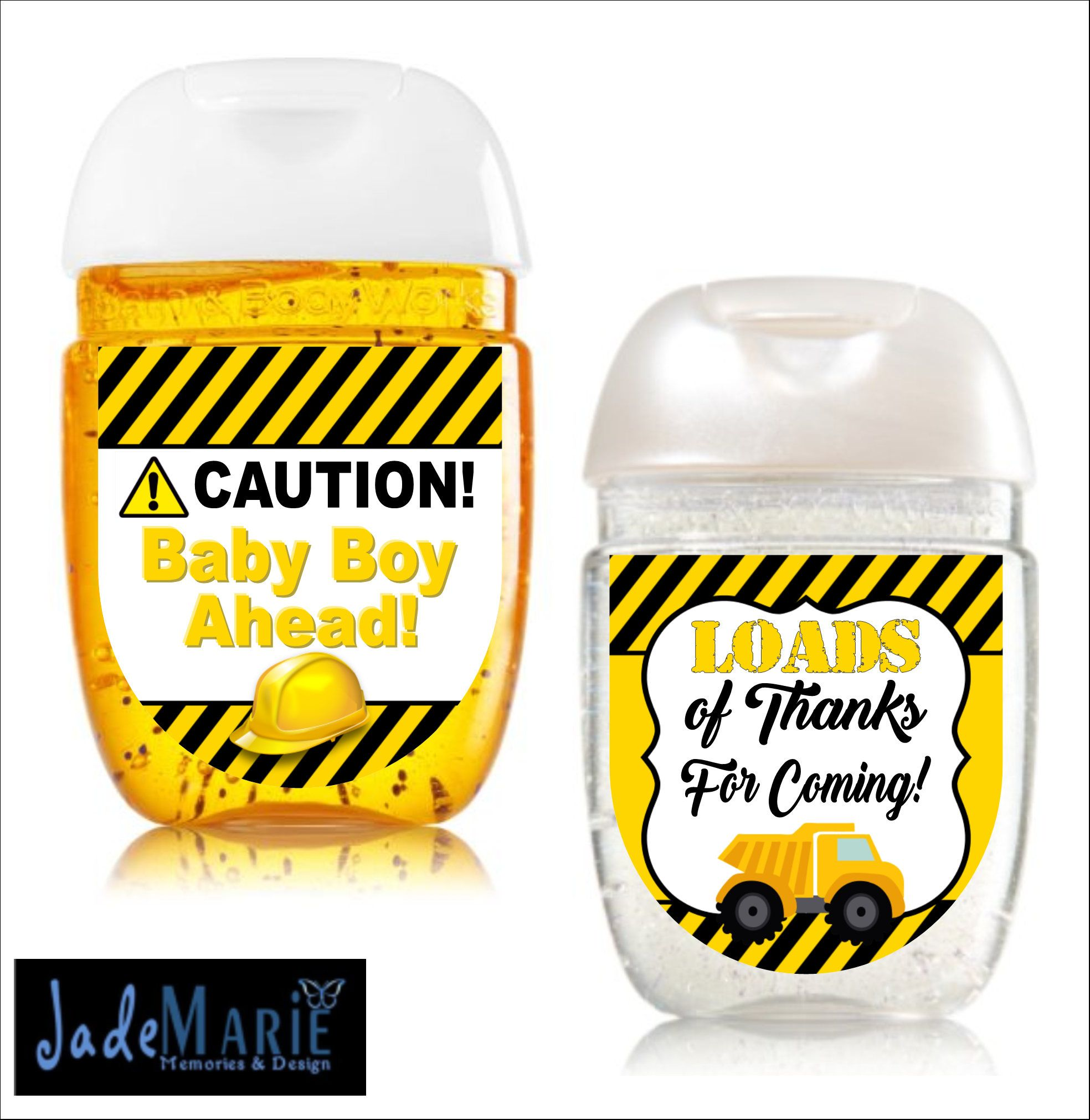 Construction Hand Sanitizer Labels Baby Shower Birthday Party