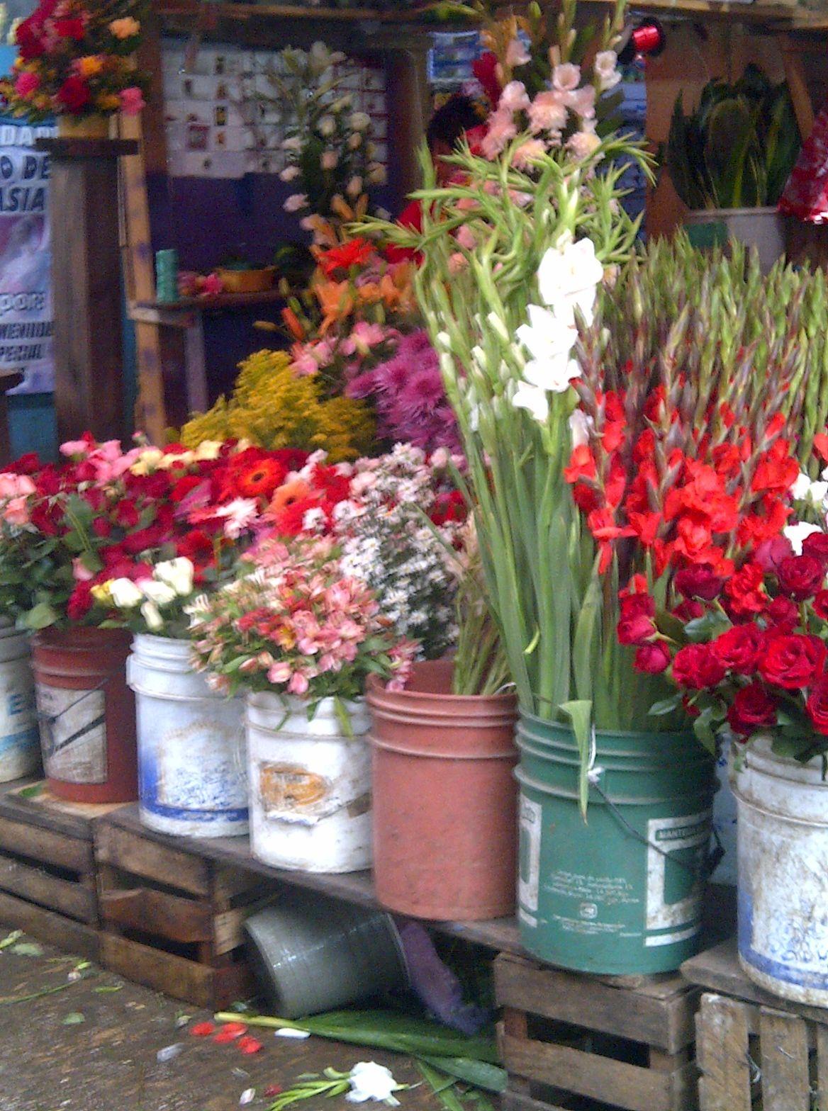 Flores en el mercadito de San Cristobal