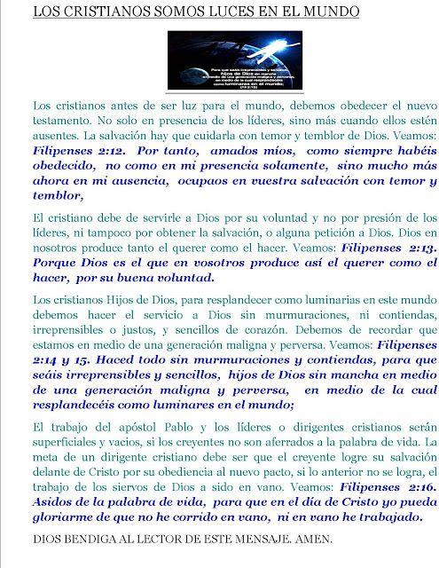 CRISTIANOS LUMBRERAS DEL MUNDO: CRISTIANOS LUMBRERAS DEL MUNDO