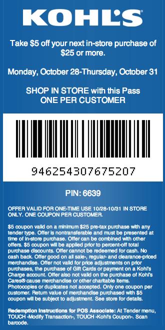 Kohl's 5 off 25 Printable Coupon Kohls coupons