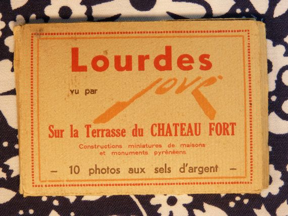 Holiday souvenir from Lourdes by JOVE 10 argentic photos from mignature monuments - French 50s 60s vintage