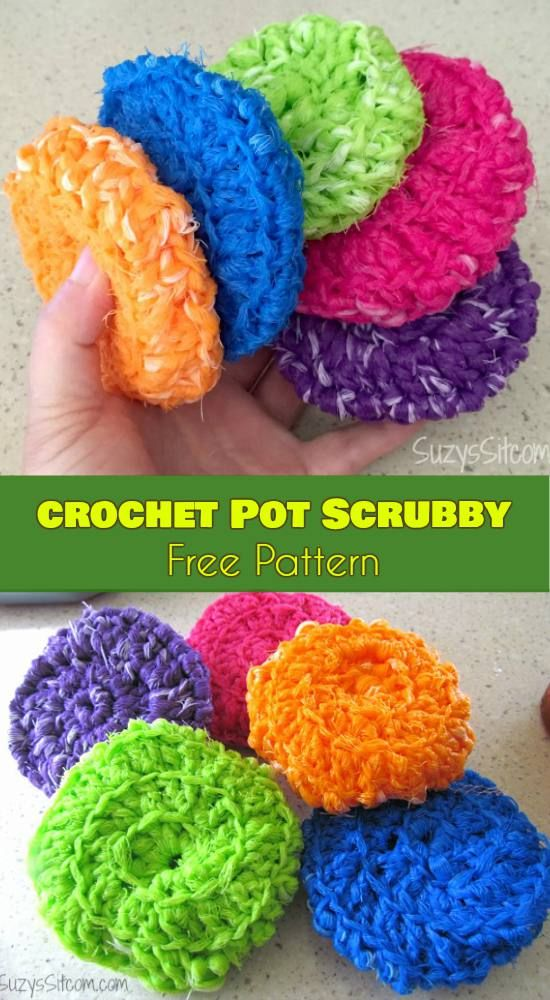 Crochet Pot Scrubby [Free Pattern] | Pinterest | Töpfchen, Stricken ...