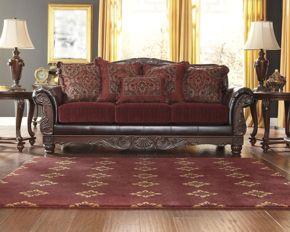 Raul Sofa Traditional Old World Burgundy Living Room Fabric Faux