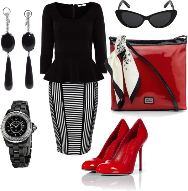 """Black, White & Red"" by charchee on Polyvore"