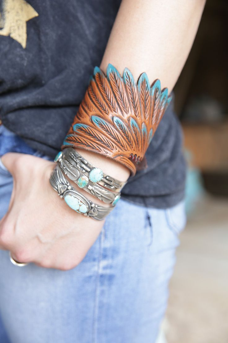 Photo of eagle wing leather cuff