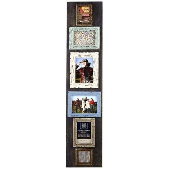 artfully display six photographs in one collage frame this rustic wood frame
