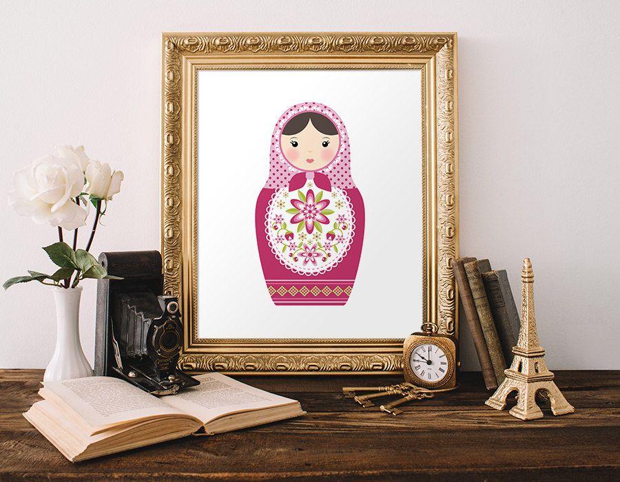Matryoshka Doll Printable Art Print Russian Doll Print Babushka Doll Printable…