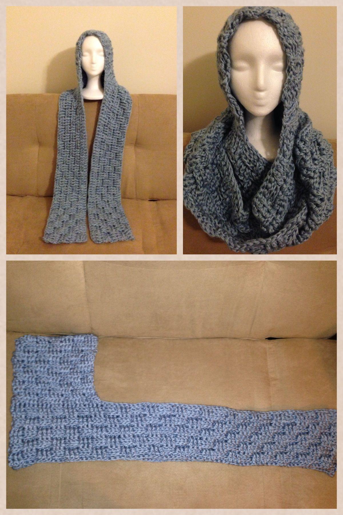 Basket weave stitch crochet hooded scarf | Crafts I Like | Pinterest ...