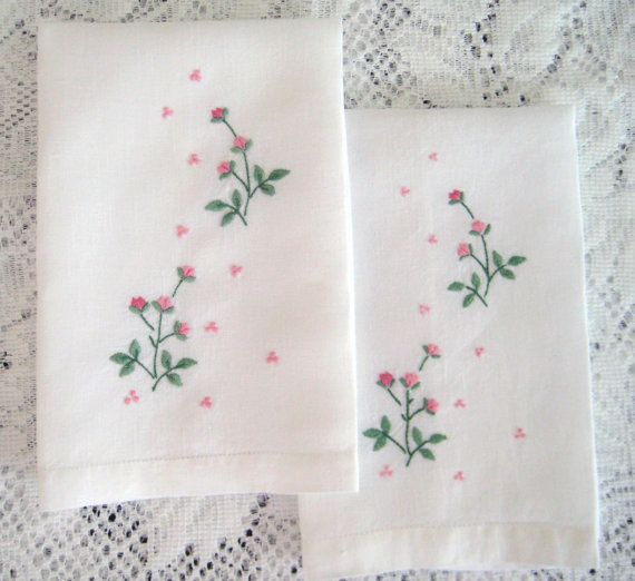 16 X 11 Sweat Towel: 2 Vintage Fingertip Towels, White Linen, Embroidered Pink