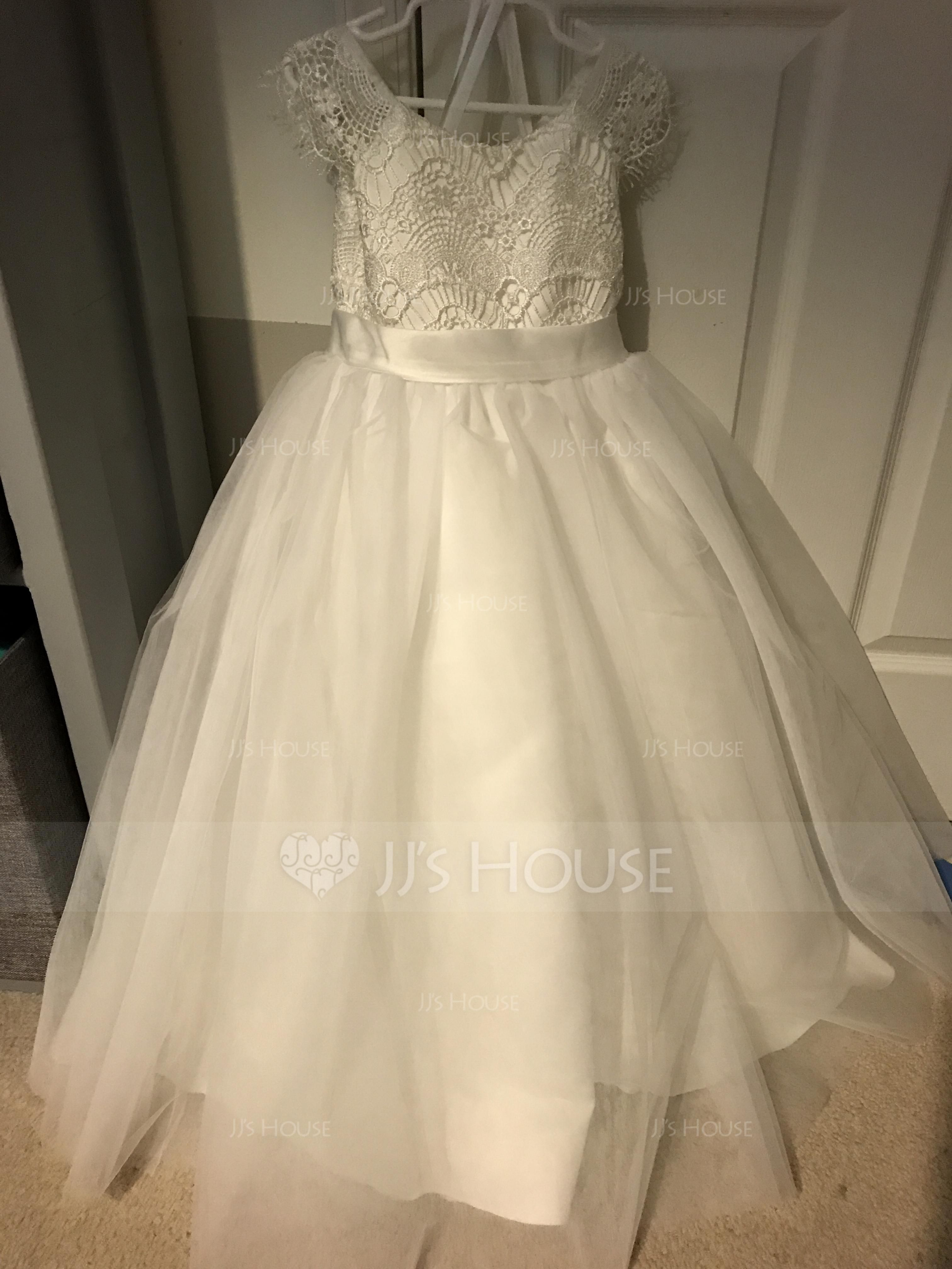 70a783acd A-Line/Princess Knee-length Flower Girl Dress - Tulle/Lace Sleeveless Scoop  Neck With Appliques (Undetachable sash) (010105755) - JJsHouse