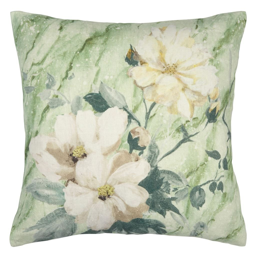 Gold Floral Silk Pillow Cover in 2020