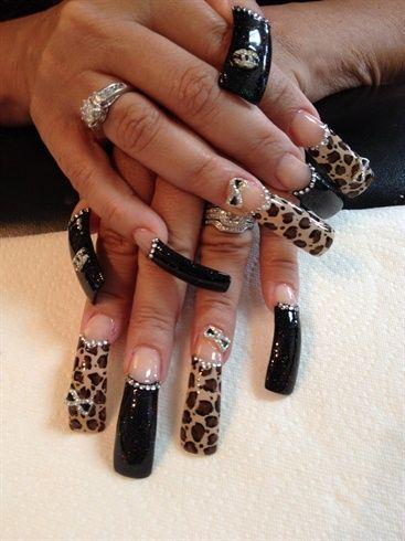 Cheetah Bling With Images Cheetah Nail Designs Curved Nails Cheetah Nails