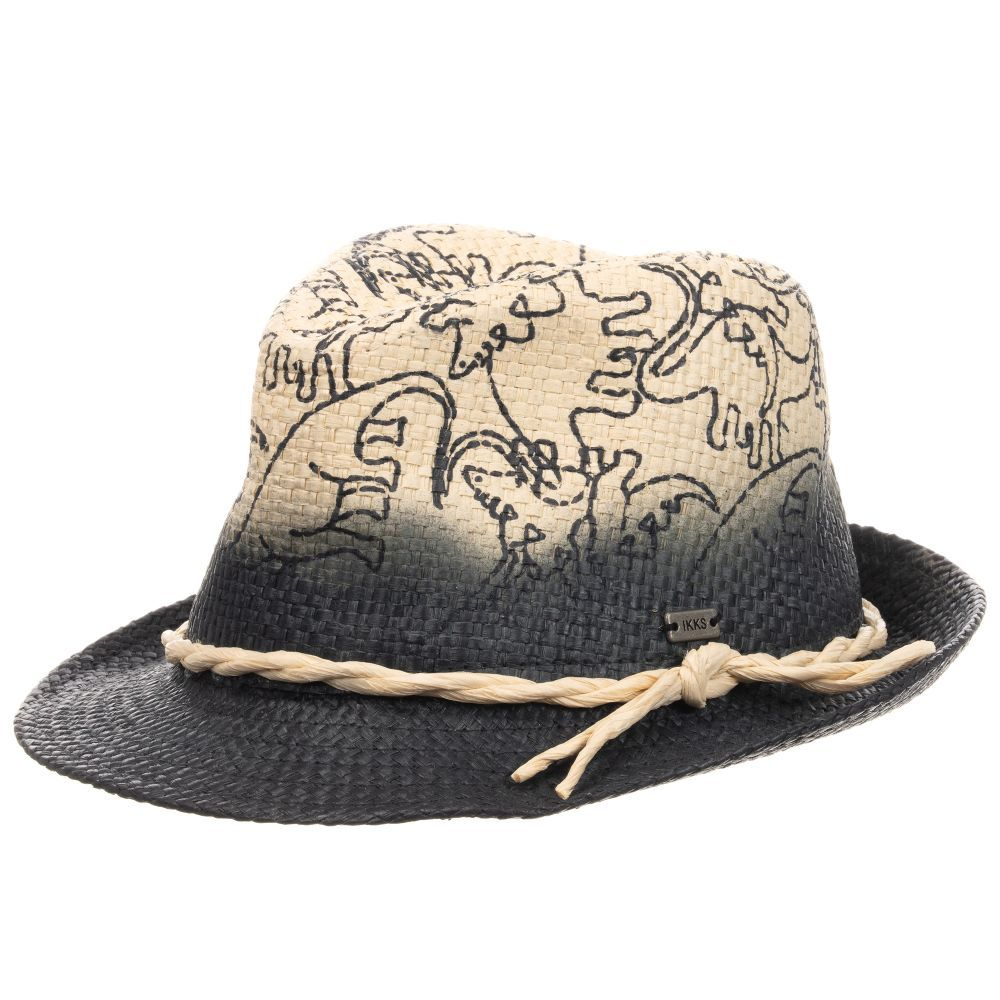 802623ace Boys straw hat by IKKS, with a fun blue dinosaur print and navy blue ...