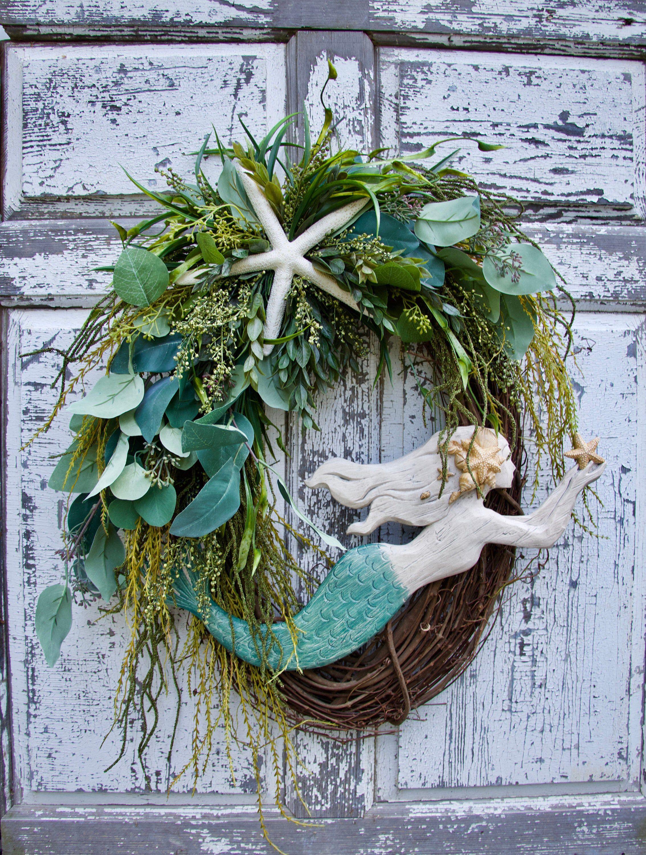 Photo of Large Oval Mermaid Wreath, Beach Wreath, Coastal Decor, Beach House Decor, Nautical Wreath, Spring Wreath, Summer Wreath