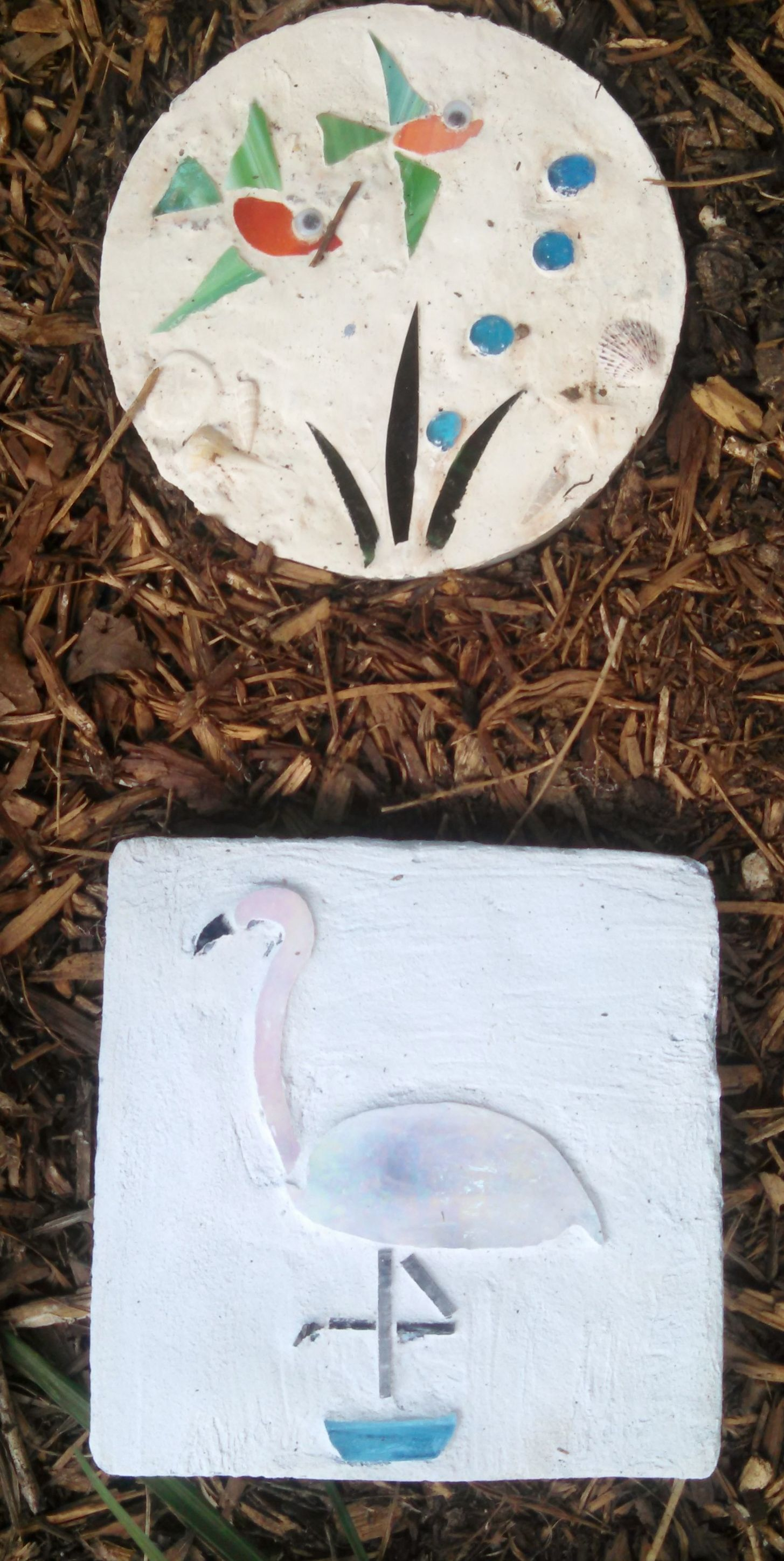 Beach Themed Stepping Stones Using Cut Gl