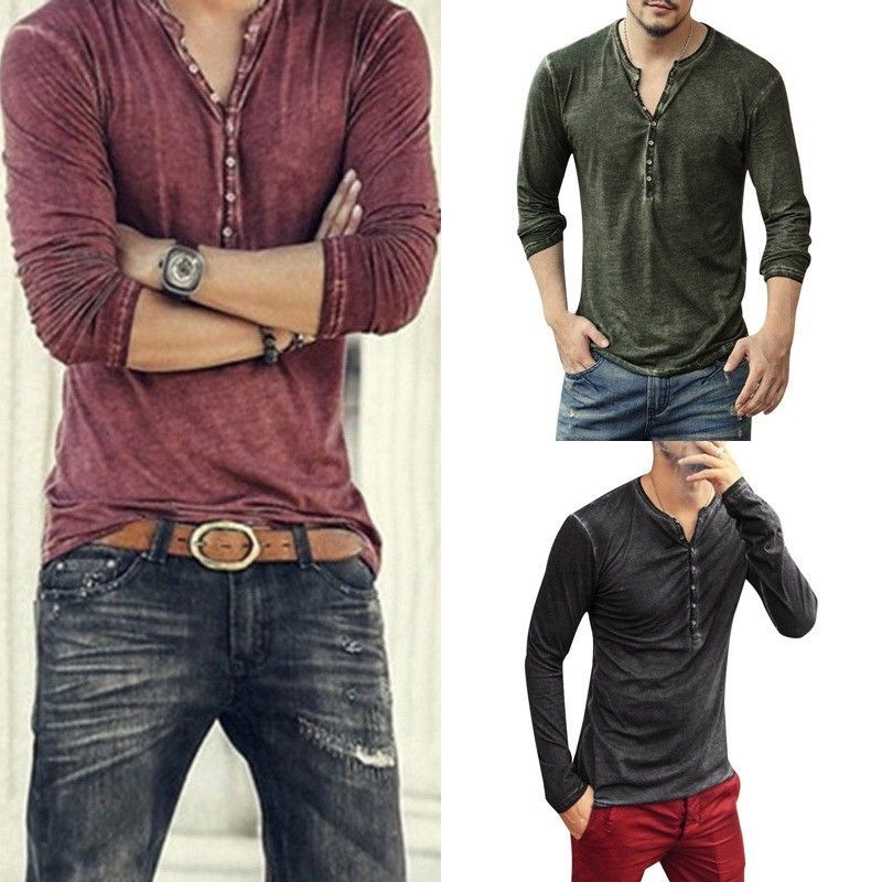 4895b25f4aa7 9.49   Stylish Mens Henley T-Shirts Long Sleeve V Neck With Button Slim Fit  T-Shirts US ❤ #stylish #henley #shirts #sleeve #button #Jeans #bag  #bracelet ...