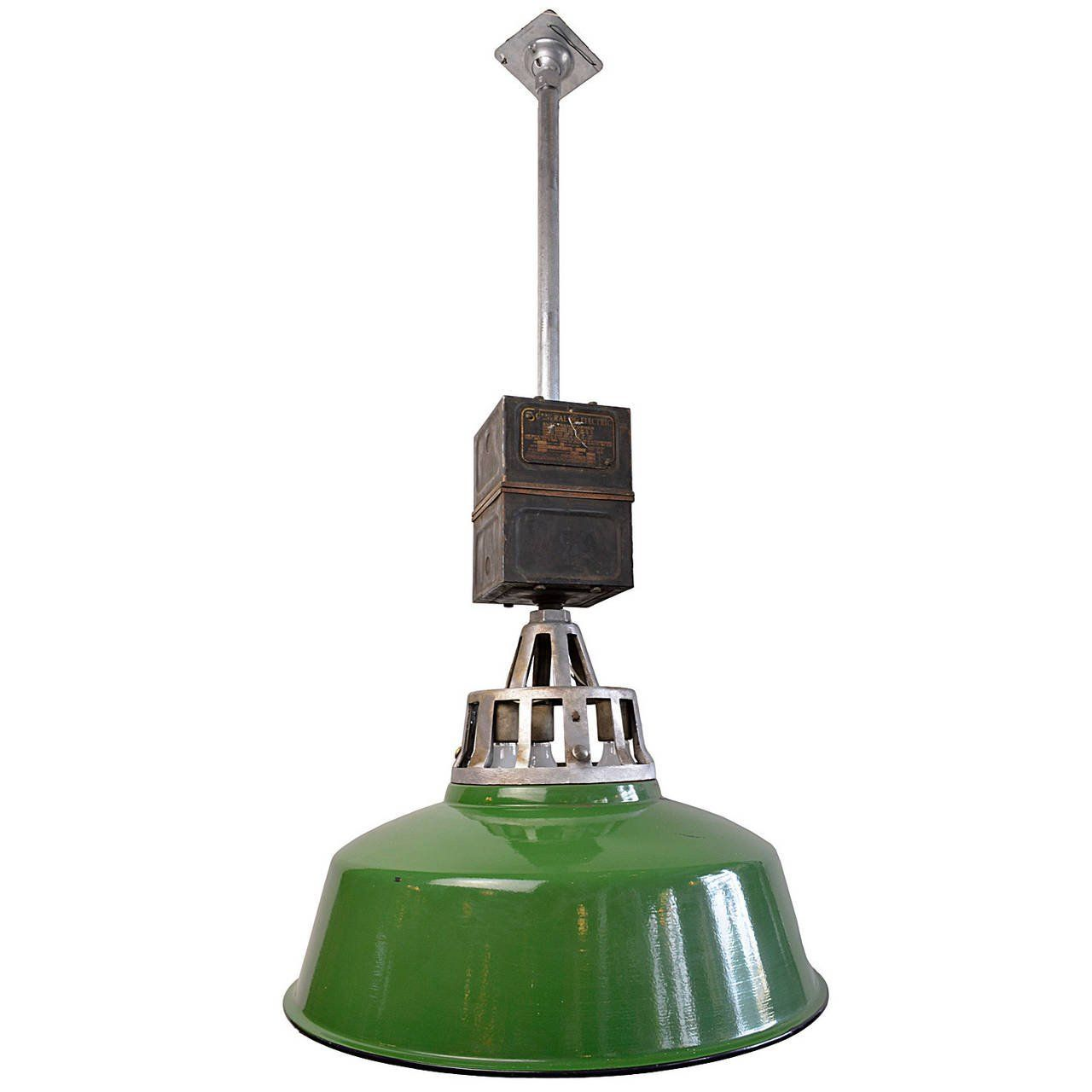 Original Warehouse Pendant Light: Green Enamel Warehouse Fixture With Original Transformer