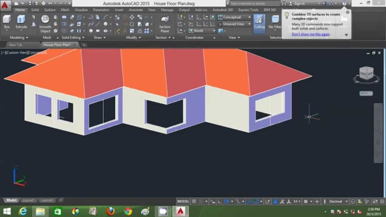 Autocad Modeling House   House And Home Design Part 56
