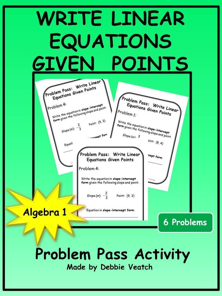 A Free Activity To Practice Or Review Writing Linear Equations In