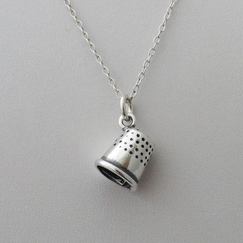 Thimble Charm Necklace - 925 Sterling Silver