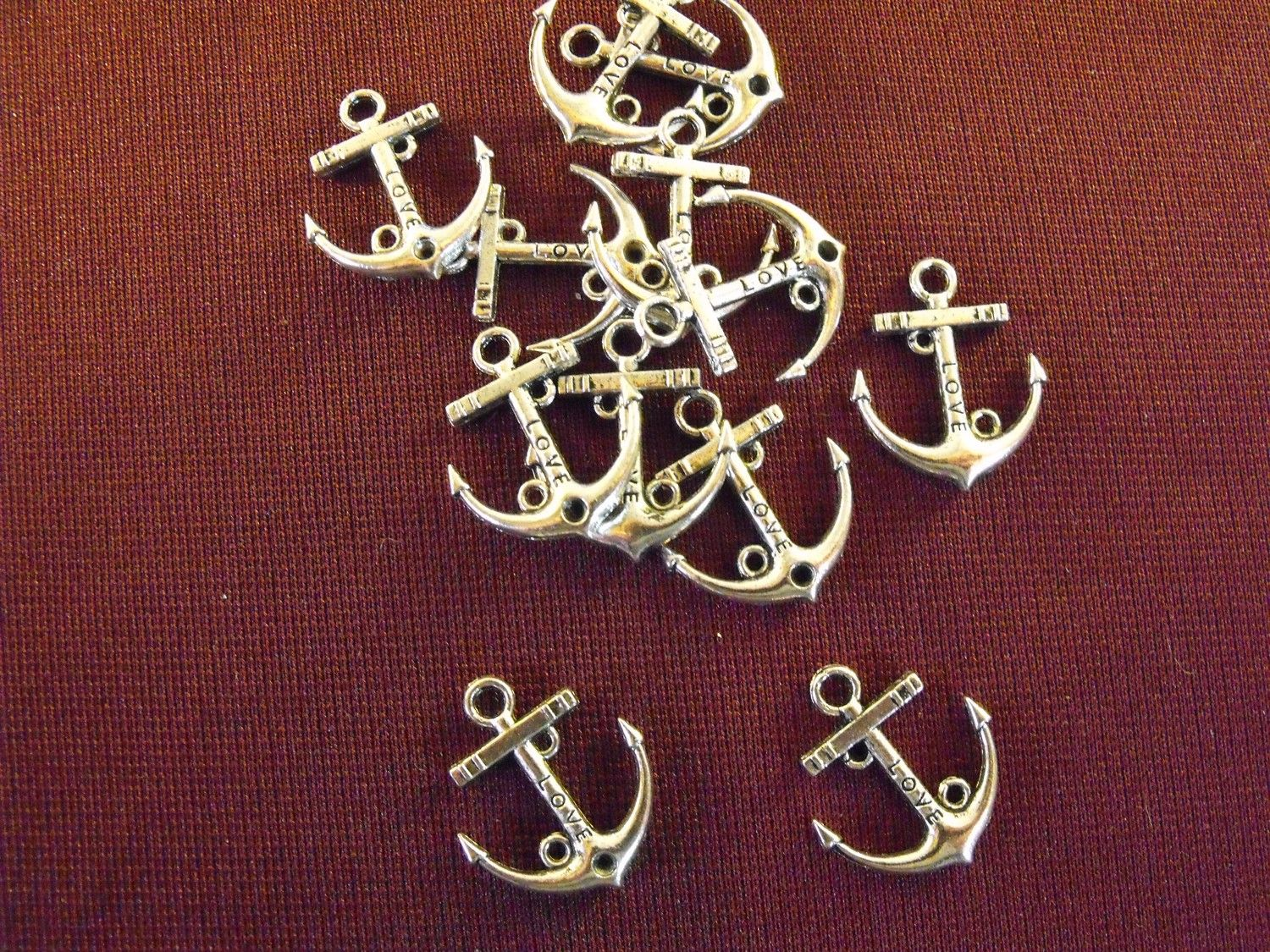 Silver Anchor Charms, Large, lot of 12, Tibetan Silver. $2.50, via Etsy.