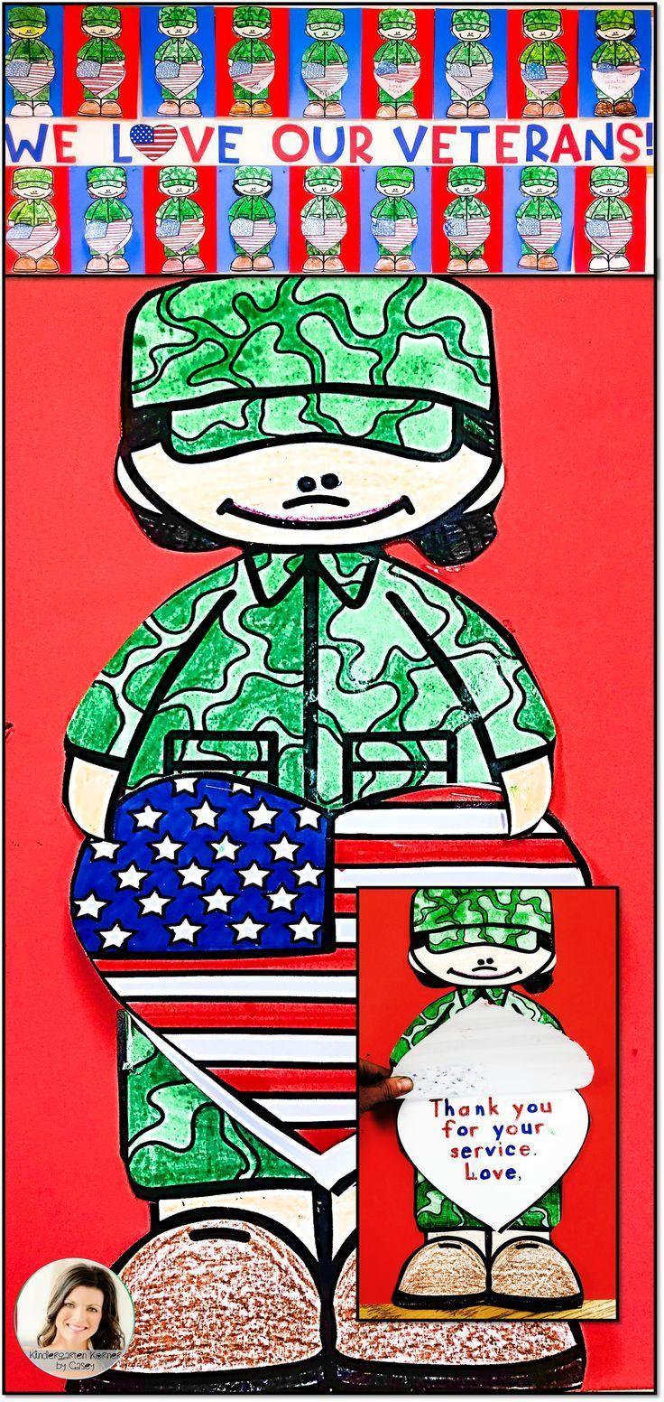 Veterans Day Bulletin Board - Flag Thank You Writing Flip Craft Templates #veteransdaythankyou