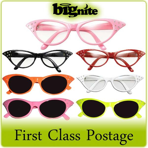 9cbbc1bc8443 LADIES 50s ROCK N ROLL   70s GREASE FANCY DRESS GLASSES – PINK RED BLACK  WHITE