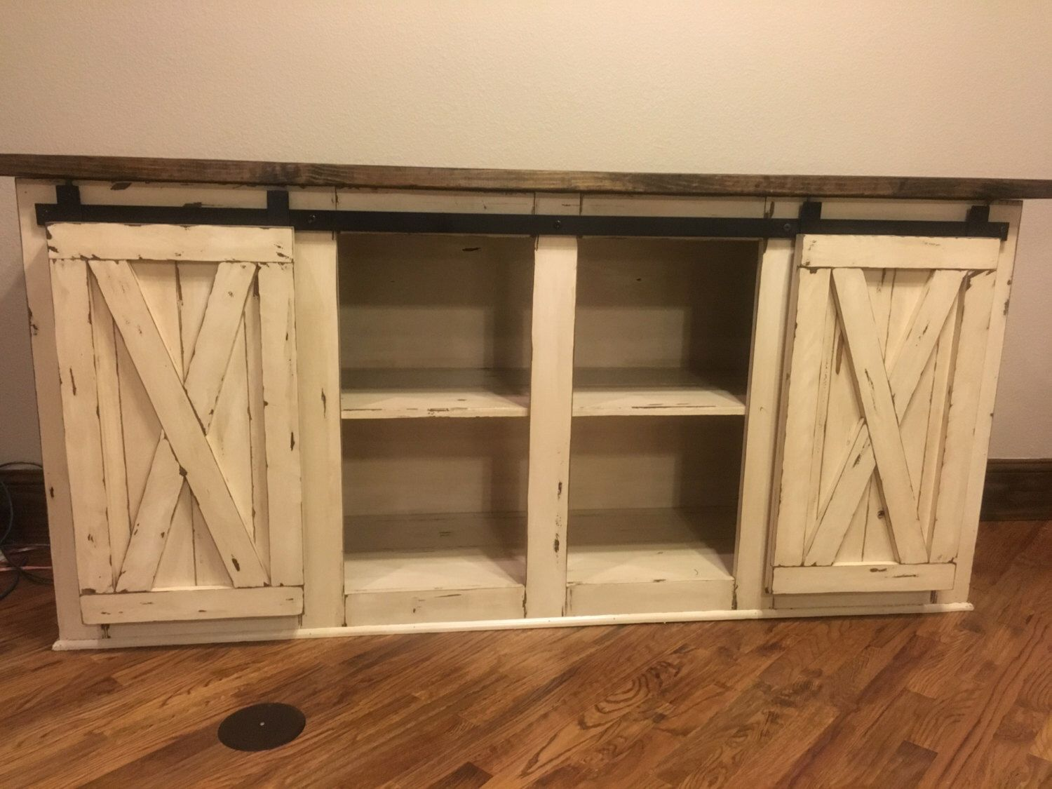 Farmhouse tv console media console rustic tv stand tv console by cmwoodwerks on