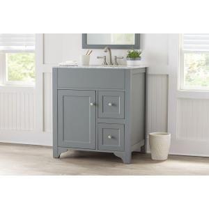 cool grey white bathroom vanity | Hillsbury 30 in. Vanity in Cool Gray with Marble Vanity ...