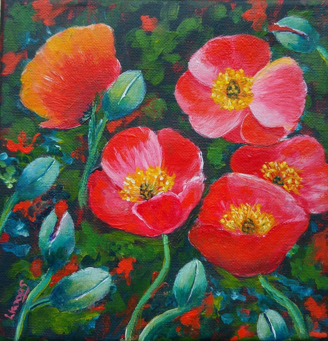 Art Nouveau Inspired California Poppy By Mason Larose: California Poppies. Inspired By Ginger Cook. Acrylic Paint