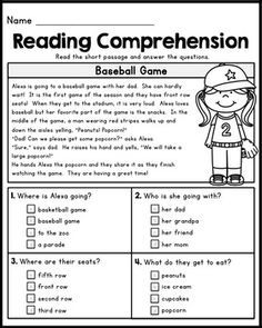 First Grade Reading Comprehension Passages - Set 1 | vcc ...