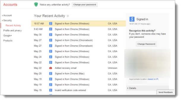 View your recent Google account activity   Tips and tricks