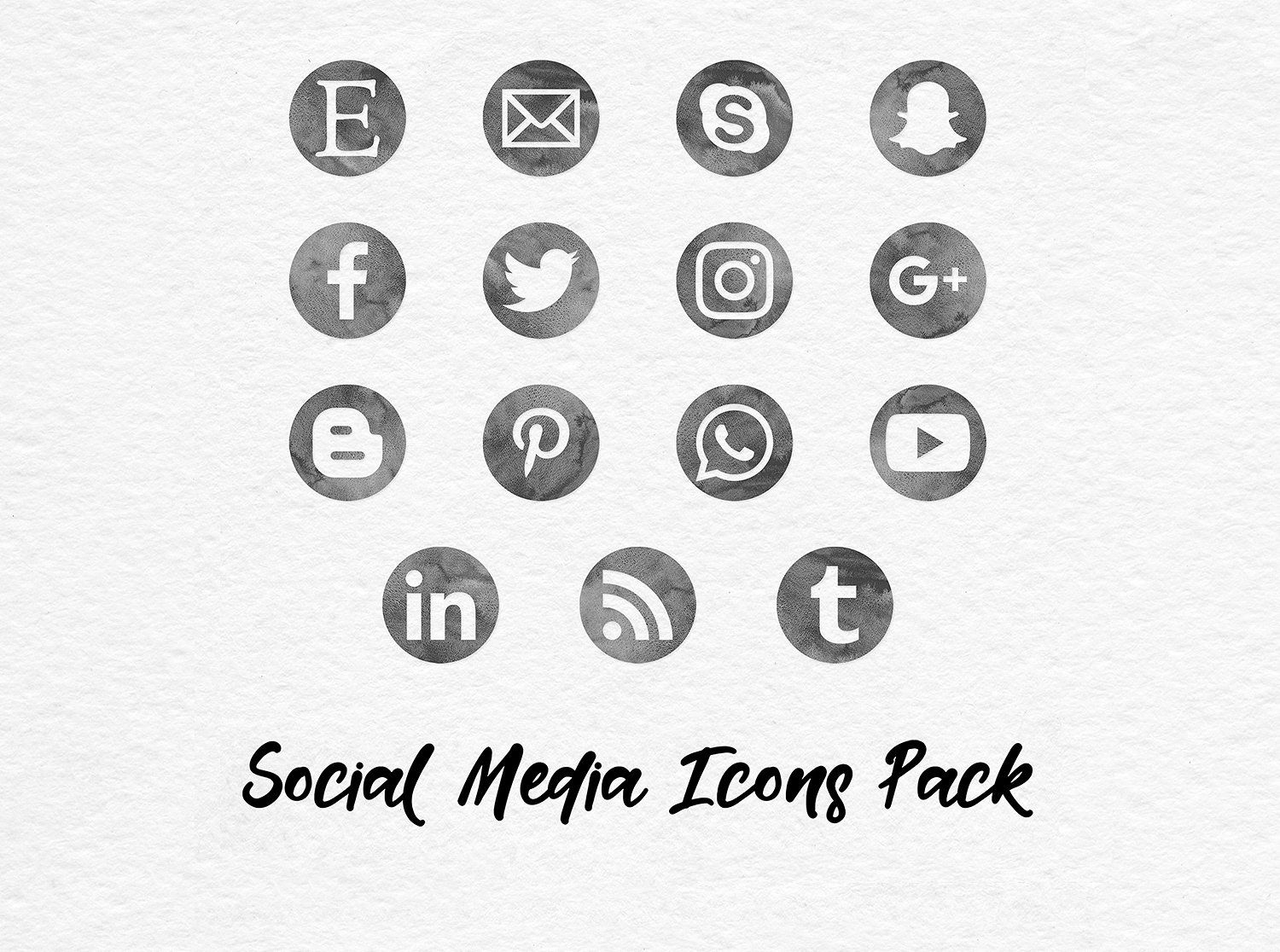 Grey Watercolor Social Media Icons Social media icons