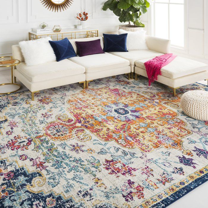 Hillsby Oriental Orange Navy Area Rug In 2019 Rugs In
