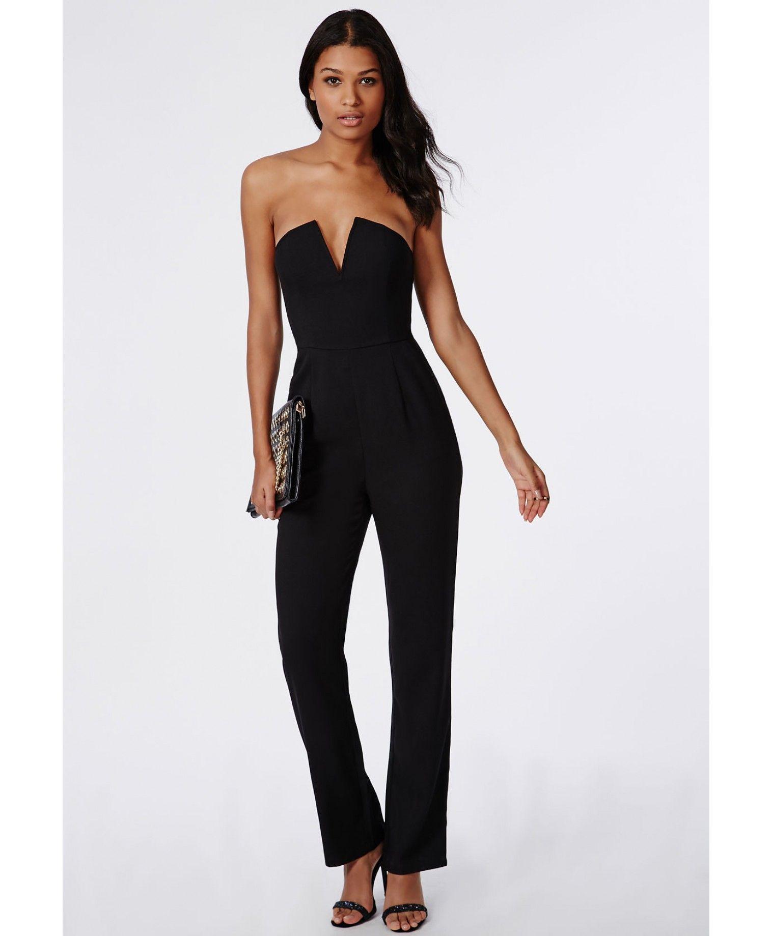 33178eef4e3 Bandeau Plunge Wide Leg Jumpsuit Black - Jumpsuits - Evening Jumpsuits -  Missguided