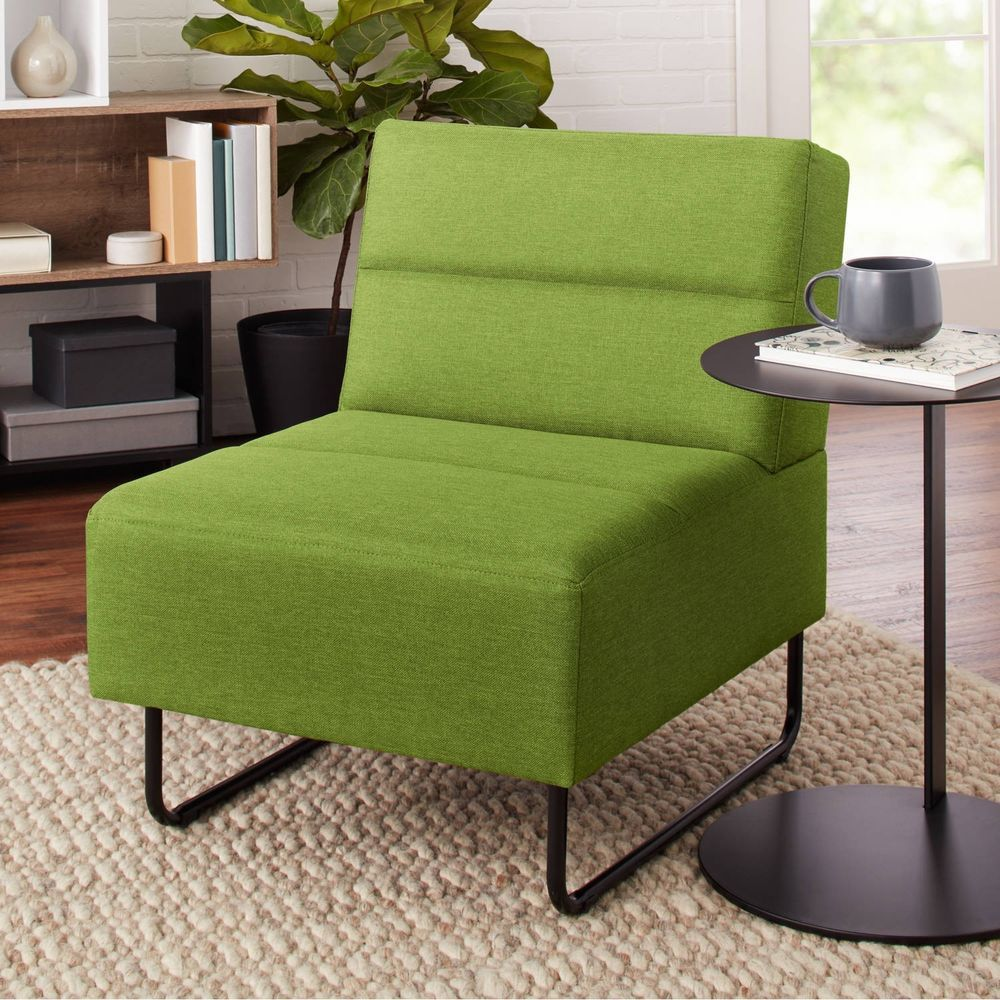 Green Lounge Chair Seat Upholstery Modern Cushion Accent