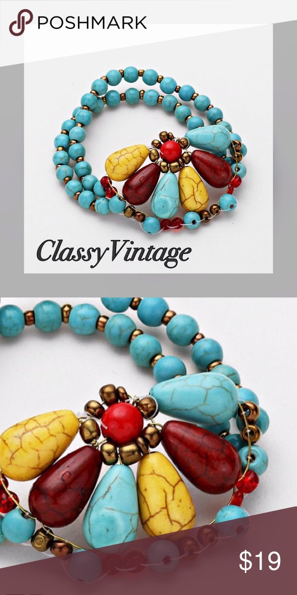 Turquoise, yellow and brown stretch bracelet. Double strand stretch with half flower detail. Beautiful semi- precious Howlite and other real stones. No plastic or acrylic stones. Jewelry Bracelets