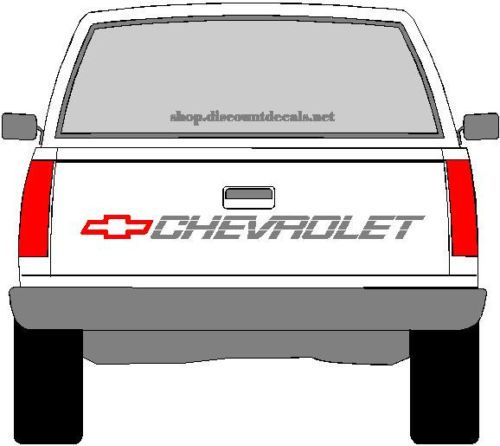 CHEVROLETTRUCKTAILGATEDECALREDBOWTIEWITHSILVERLETTERING - Chevy windshield decals trucks