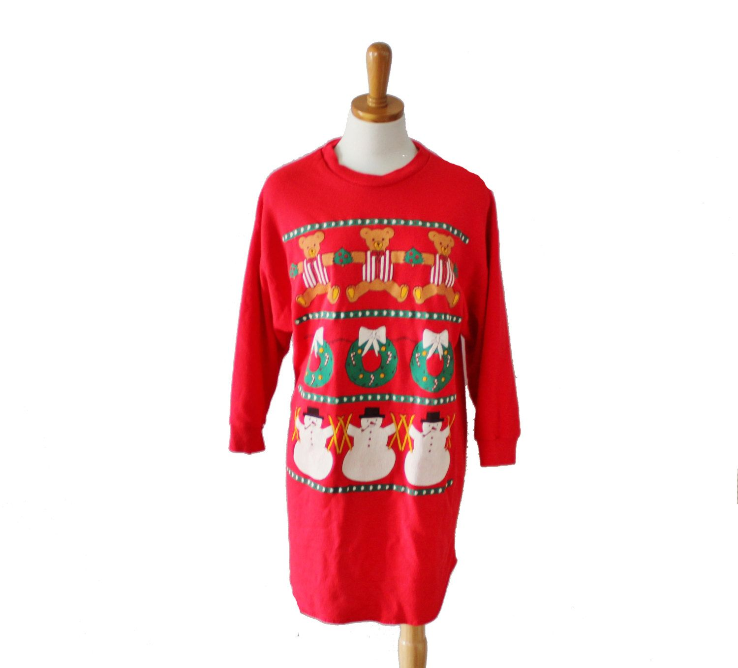 Vintage Ugly Christmas Sweater Dress Red Novelty Sweatshirt Nightgown Women