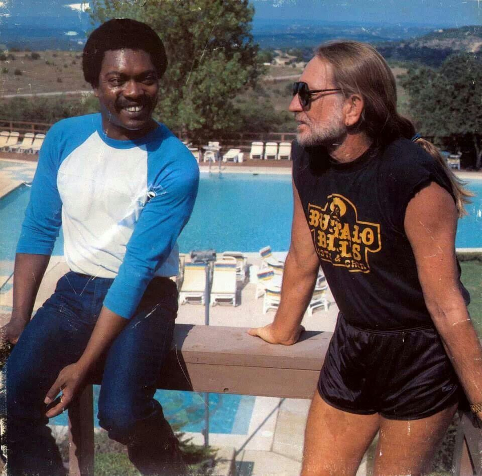 Booker T. Jones and Wille Nelson. Willie in short shorts cracked me up! Who knew he had such nice legs?
